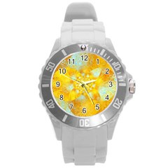 Gold Blue Abstract Blossom Round Plastic Sport Watch (l) by designworld65