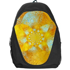 Gold Blue Abstract Blossom Backpack Bag by designworld65