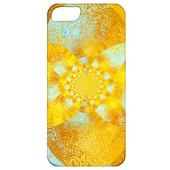 Gold Blue Abstract Blossom Apple Iphone 5 Classic Hardshell Case by designworld65