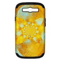 Gold Blue Abstract Blossom Samsung Galaxy S Iii Hardshell Case (pc+silicone) by designworld65