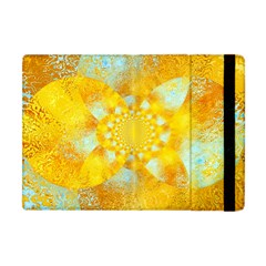 Gold Blue Abstract Blossom Apple Ipad Mini Flip Case by designworld65