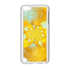 Gold Blue Abstract Blossom Apple Ipod Touch 5 Case (white) by designworld65