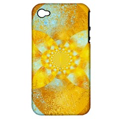 Gold Blue Abstract Blossom Apple Iphone 4/4s Hardshell Case (pc+silicone) by designworld65