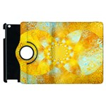 Gold Blue Abstract Blossom Apple iPad 2 Flip 360 Case Front