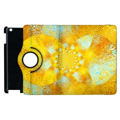 Gold Blue Abstract Blossom Apple Ipad 3/4 Flip 360 Case by designworld65