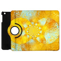 Gold Blue Abstract Blossom Apple Ipad Mini Flip 360 Case by designworld65