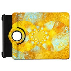 Gold Blue Abstract Blossom Kindle Fire Hd Flip 360 Case by designworld65