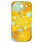 Gold Blue Abstract Blossom Samsung Galaxy S3 S III Classic Hardshell Back Case Front