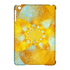 Gold Blue Abstract Blossom Apple Ipad Mini Hardshell Case (compatible With Smart Cover) by designworld65
