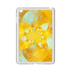 Gold Blue Abstract Blossom Ipad Mini 2 Enamel Coated Cases by designworld65