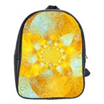 Gold Blue Abstract Blossom School Bags (XL)  Front