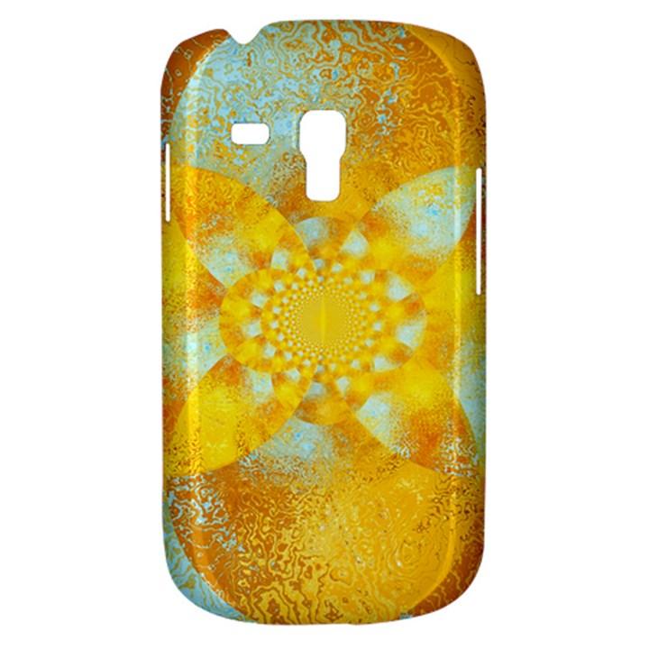 Gold Blue Abstract Blossom Samsung Galaxy S3 MINI I8190 Hardshell Case