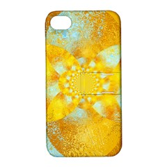 Gold Blue Abstract Blossom Apple Iphone 4/4s Hardshell Case With Stand by designworld65
