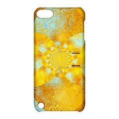 Gold Blue Abstract Blossom Apple Ipod Touch 5 Hardshell Case With Stand by designworld65