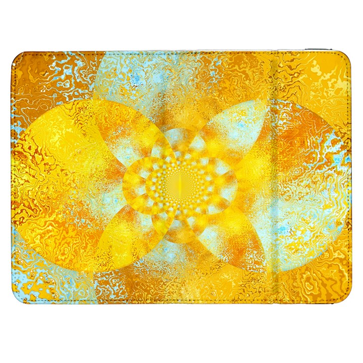 Gold Blue Abstract Blossom Samsung Galaxy Tab 7  P1000 Flip Case