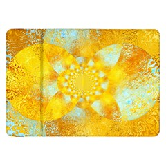 Gold Blue Abstract Blossom Samsung Galaxy Tab 8 9  P7300 Flip Case by designworld65