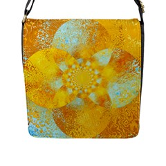 Gold Blue Abstract Blossom Flap Messenger Bag (l)  by designworld65