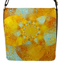 Gold Blue Abstract Blossom Flap Messenger Bag (s) by designworld65