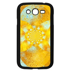 Gold Blue Abstract Blossom Samsung Galaxy Grand Duos I9082 Case (black) by designworld65