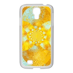 Gold Blue Abstract Blossom Samsung Galaxy S4 I9500/ I9505 Case (white) by designworld65