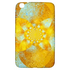Gold Blue Abstract Blossom Samsung Galaxy Tab 3 (8 ) T3100 Hardshell Case  by designworld65