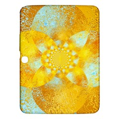 Gold Blue Abstract Blossom Samsung Galaxy Tab 3 (10 1 ) P5200 Hardshell Case  by designworld65