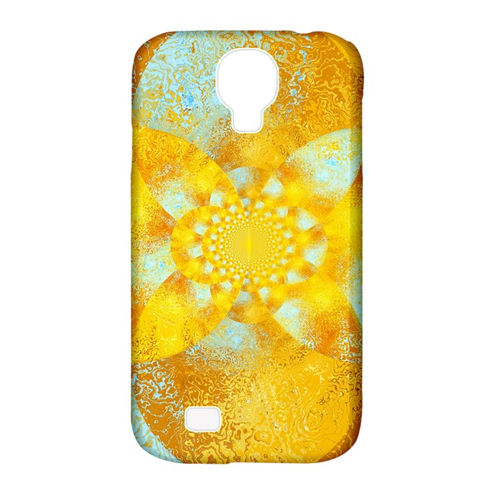 Gold Blue Abstract Blossom Samsung Galaxy S4 Classic Hardshell Case (PC+Silicone)