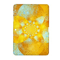 Gold Blue Abstract Blossom Samsung Galaxy Tab 2 (10 1 ) P5100 Hardshell Case