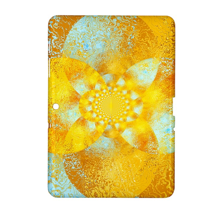 Gold Blue Abstract Blossom Samsung Galaxy Tab 2 (10.1 ) P5100 Hardshell Case