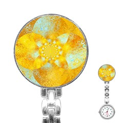 Gold Blue Abstract Blossom Stainless Steel Nurses Watch by designworld65
