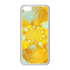 Gold Blue Abstract Blossom Apple Iphone 5c Seamless Case (white) by designworld65