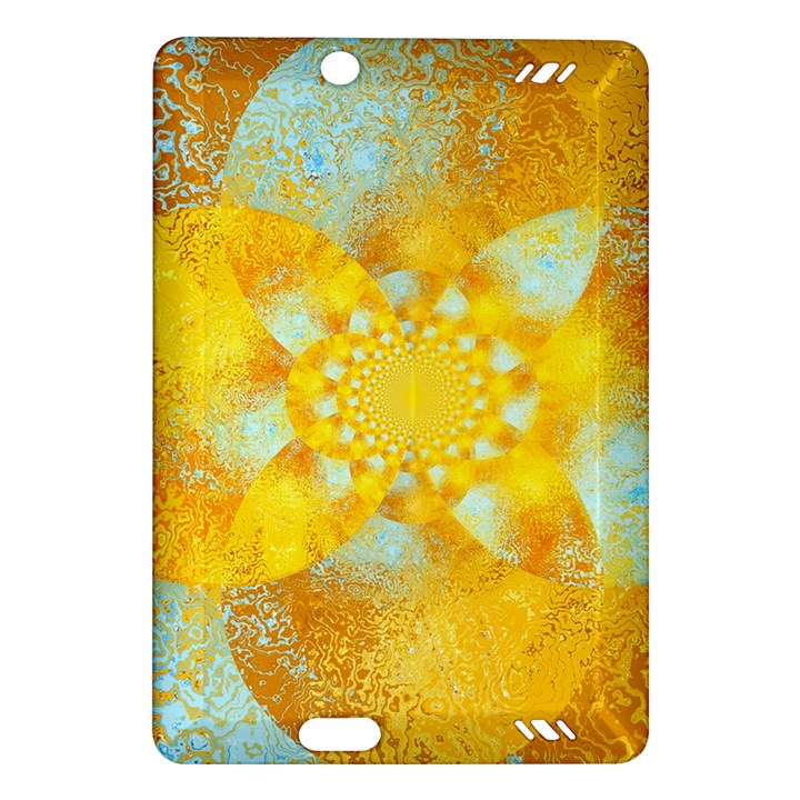 Gold Blue Abstract Blossom Amazon Kindle Fire HD (2013) Hardshell Case