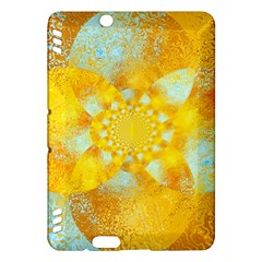 Gold Blue Abstract Blossom Kindle Fire Hdx Hardshell Case by designworld65