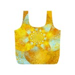 Gold Blue Abstract Blossom Full Print Recycle Bags (S)  Front