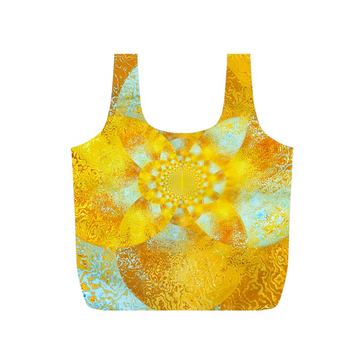 Gold Blue Abstract Blossom Full Print Recycle Bags (S)