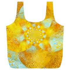 Gold Blue Abstract Blossom Full Print Recycle Bags (l)  by designworld65