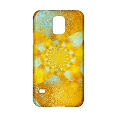 Gold Blue Abstract Blossom Samsung Galaxy S5 Hardshell Case  by designworld65