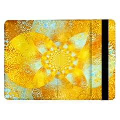 Gold Blue Abstract Blossom Samsung Galaxy Tab Pro 12 2  Flip Case by designworld65