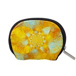 Gold Blue Abstract Blossom Accessory Pouches (Small)  Back