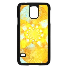 Gold Blue Abstract Blossom Samsung Galaxy S5 Case (black) by designworld65