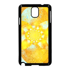 Gold Blue Abstract Blossom Samsung Galaxy Note 3 Neo Hardshell Case (black) by designworld65