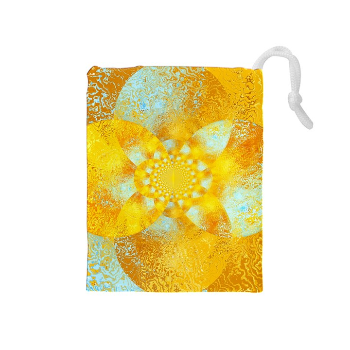 Gold Blue Abstract Blossom Drawstring Pouches (Medium)
