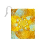 Gold Blue Abstract Blossom Drawstring Pouches (Medium)  Back