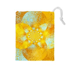 Gold Blue Abstract Blossom Drawstring Pouches (large)  by designworld65
