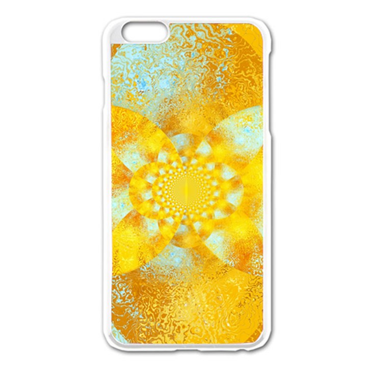 Gold Blue Abstract Blossom Apple iPhone 6 Plus/6S Plus Enamel White Case
