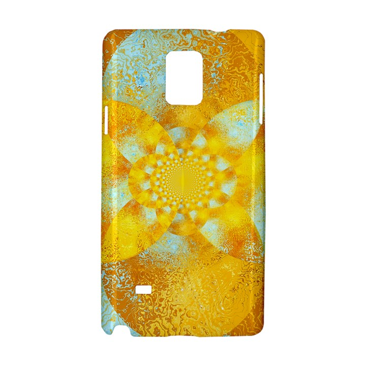 Gold Blue Abstract Blossom Samsung Galaxy Note 4 Hardshell Case