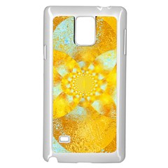 Gold Blue Abstract Blossom Samsung Galaxy Note 4 Case (white) by designworld65
