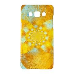 Gold Blue Abstract Blossom Samsung Galaxy A5 Hardshell Case  by designworld65