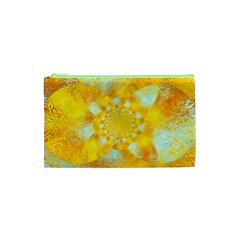 Gold Blue Abstract Blossom Cosmetic Bag (xs)