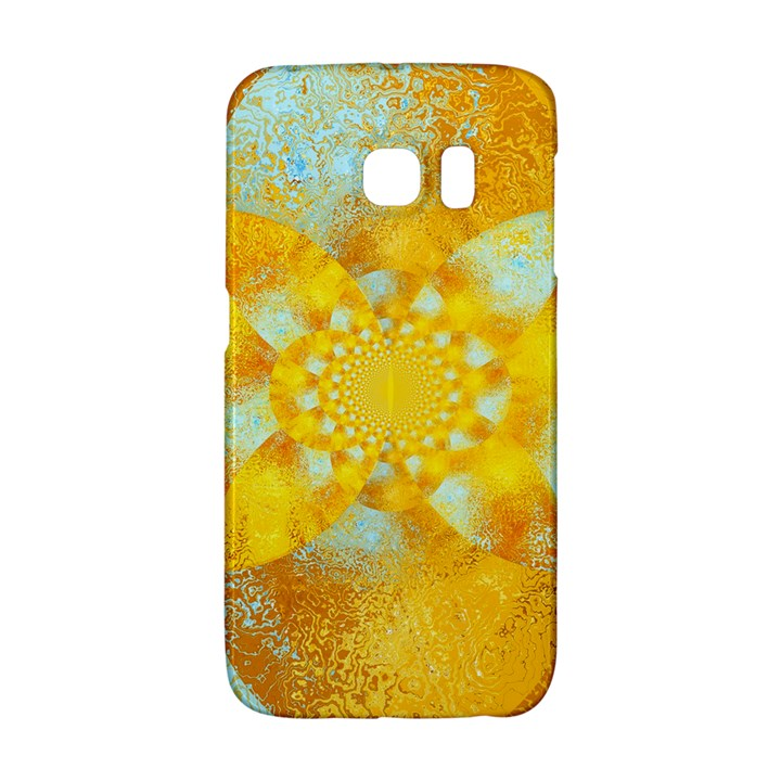 Gold Blue Abstract Blossom Galaxy S6 Edge